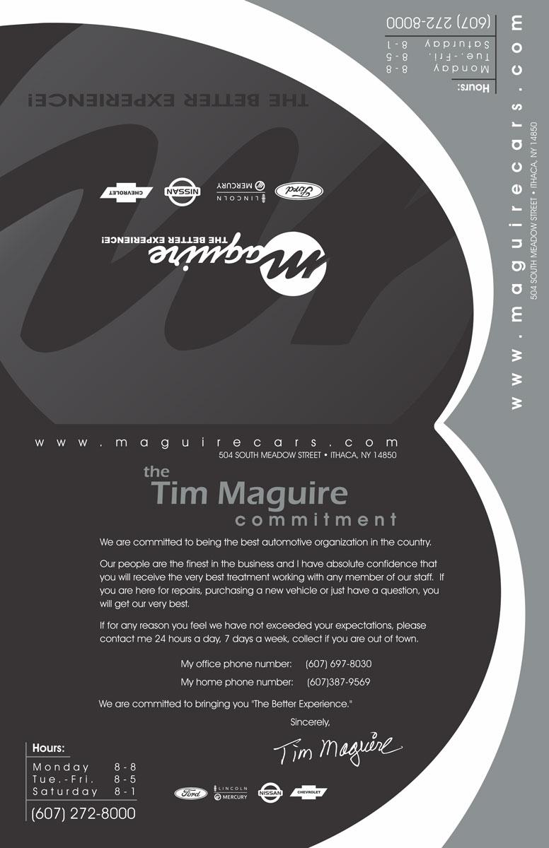 Maguire Service Menu